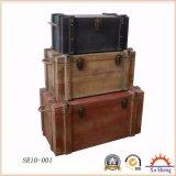 Natural Wood Storage Trunk Set Gift Box for Living Room Antique Furniture Home Decoration