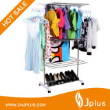 Jr-Cr511 White Three Tier Mobile ABS Plastic 201 Stainless Steel Laundry Drying Rack