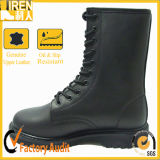 Black Genuine Cow Leather Military Combat Boots