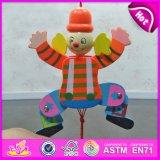 2016 High Quality Kid Wooden Cute Clown Toys, Best Sale Wooden Cartoon Clown Doll Toys, Cheap Toy Wooden Clown W02A059e