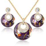 Female Fashion Jewelry Enamel Drop Earring and Necklace Set