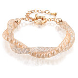 Fashion Double Mesh Chains Gold Crysal Pearl Charm Bracelet