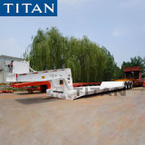 Titan 3 Axle 60 Ton Hydraulic Front Loading Low Boy Detachable Goose Neck Low Loaders Semi Truck Trailer Price