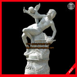 Female and Playing Cherub Statue Marble Sculpture Stone Carving