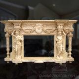 Decoration Beige Granite Stone Carving Figure Sculpture Marble Fireplace