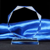 Octagonal Crystal Trophy Award with Base