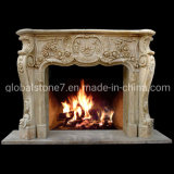 Freestanding Chinese Carving Marble Fireplace for Home Decoration (GSMF-284)