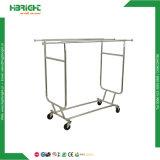 Folding Clothes Rail Single Garment Rack with 4 Wheels