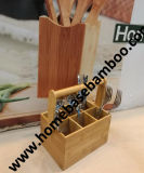 FDA LFGB Bamboo Cutlery Holder Caddy Flatware Beer Caddy