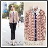Wholesale Fashion Women Ladies Spring Summer Silk Floral Blouse Shirt for Party Design