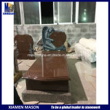 Angel with Heart Style Red Granite European Headstone