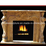 Yellow Sculpture Marble Fireplace (SY-MF043)