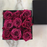 Customized Black Color 9 Rose Acrylic Flower Box with Lid