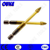 Hex Shank R Groove Flat Carbide Tip Tin-Coated Glass Drill