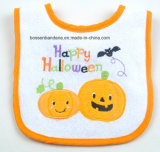 Customized Logo Embroidered Halloween Cotton Terry White Baby Bibs