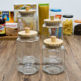 Factory Wholesale Food Wood Lid Storage Glass Bottle (100025)