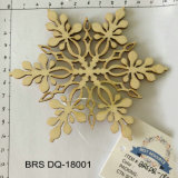 Handmade Wooden Carving Craft Xmas Hanging Snowflake for Christmas and Home Decoration