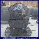 High Polishing Bahama Blue Granite Monument with Engraving Rose Flower