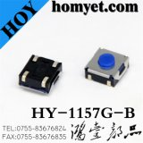 China Manufacturer SMT Tact Switch with 6.2*6.2mm Bule Button 4pin (HY-1157G-B)