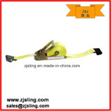 "2"" X 27′ Yellow Ratchet Strap W/ Flat Hooks Self Contained Ratchet"