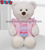 White Plush Teddy Bear Toy with Pink Dressing as Mother′s Day Gift
