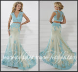 Two Pieces Blue Party Prom Gowns Lace Evening Dress (P16103)