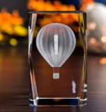 Hot Air Balloon Crystal Glass Cube with 3D Laser Engraing for Travelling Gifts