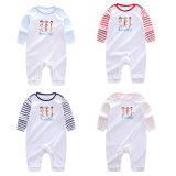 Newborn Baby Soft Cotton Y. D. Stripe Fabric Long Sleeve Front Chest Printed Romper