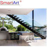 Canada Cheap Modern Single Stringer Straight Wood Tread Stainless Steel Stair