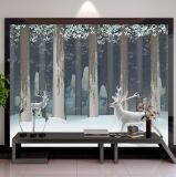 Modern Contracted Abstract Nordic Wind Blue Forest Elk TV Background Wall Stick Custom Mural Living Room Sofa Wall Stick
