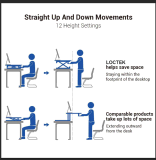 """Loctek 35"""" Wide Platform Height Adjustable Standing Desk Riser, Sit-Stand Workstation, White (MT101M)"""