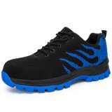 Super Breathable Mens Steel Toe Flyknit Work Safety Shoes with Rubber Sole