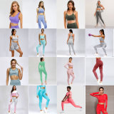 Custom Women Sexy Fitness Gym Wear, Wholesale Ladies Fashion Seamless Yoga Sport Bra and Leggings Wear