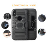 Newest Rugged Armor TPU/ PC 3 in 1 Belt Clip Kickstand Mobile/Cell Phone Case for iPhone X