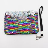 Two Tone Color Mermaid Sequin Coin Purse Women Ladies Cosmetic Bag Shiny Glitter Sequin Wristlet