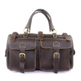 100% Crazy Horse Genuine Leather Large Hand Bag with Multiple Compartments Pockets