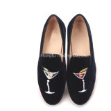 Lady Loafers Wine Glass Embroidery  Velvet Shoes