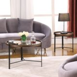 Modern Simple Folded Round Bend Metal Feet Lacquer Coffee Table