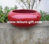 Fo-201 Round Fiberglass Flower Pot with Red Color