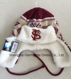 Winter Warm Earflap Knitting Hat with Fur Lining for Sport Club (HJB107)