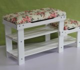 Solid Wooden Fabric Stool (M-X2094)