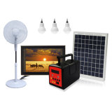 Portable Solar Home Energy Power System with Big Solar Panel LED Light Product Radio MP3 and Table/Standing Fan and TV
