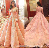 Pink Lace Ball Gowns Beading Pink Wedding Dress B197