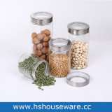 Clear Recyclable Circle Round Transparent Cylinder Candy Food Glass Bottle