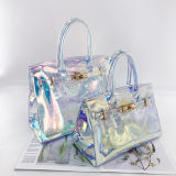 2020 New Designer Laser PVC Handbag for Women Evening Bag Transparent Hologram Fashion Laser Lady Bag Femme Jelly Purse Beach Bag Sac Holographic