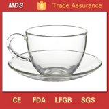 High Borosilicate Clear Glass Tea Cups and Saucers Cheap