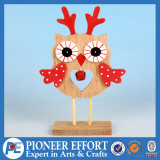 Wooden Owl Outdoor Garden Decor with Red Bell or Table Decoration