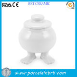 Customized Foot Ceramic Sugar Bowl with Lid