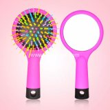 Daily accessory Rainbow Plastic Travelling Women Hair Comb with Mirror