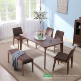 Solid Wood Dining Table and Upholstered Fabric Chair Lounge Set